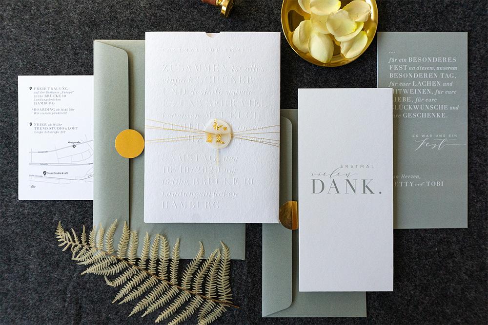paperloveink Hochzeitspapeterie Letterpress white gold